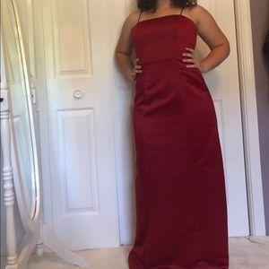 Alex Evenings Simple Red Floor Length Formal Dress